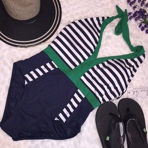 Anne Cole Nautical Striped Halter Swimsuit Navy